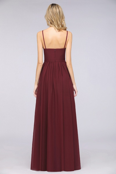 A-Line Chiffon Appliques Spaghetti-Straps Deep-V-Neck Sleeveless Floor-Length Bridesmaid Dress with Ruffles_1