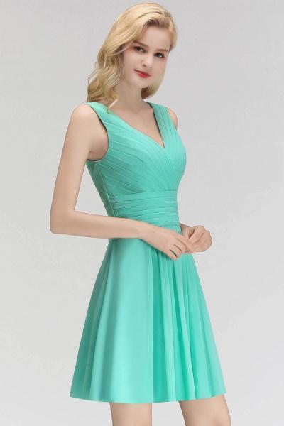 BM0061 A-line Ruffles Sexy V-Neck Sleeveless Short Bridesmaid Dress_6