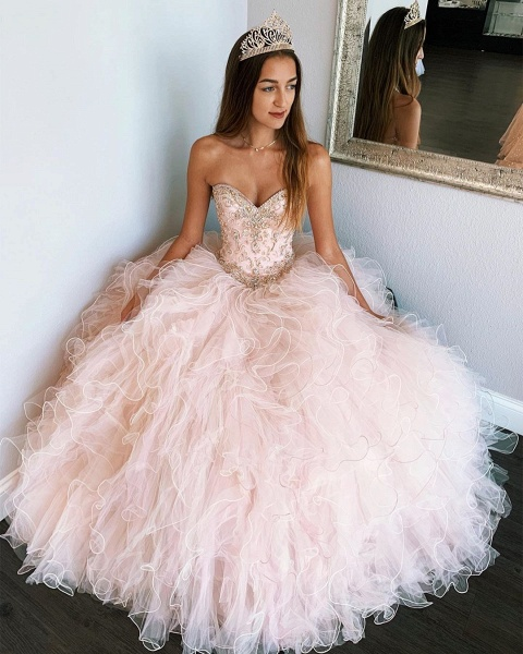 Affordable Sweetheart Tulle Ball Gown Quinceanera Dress_3