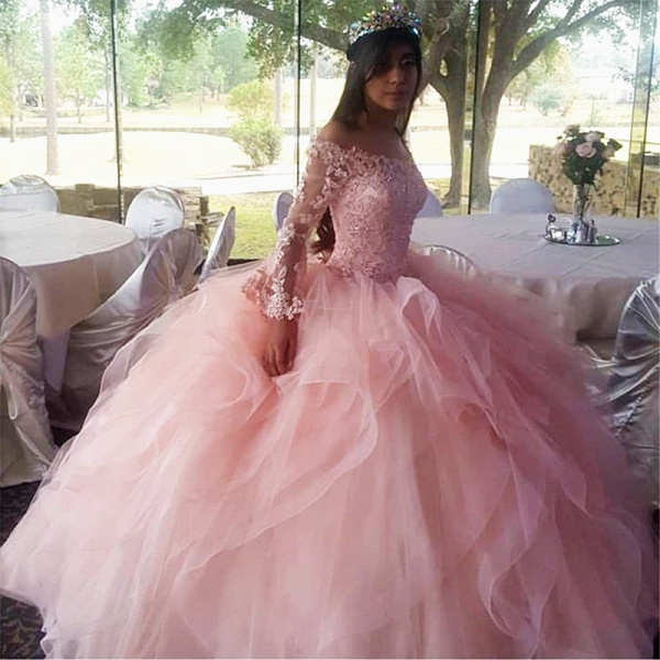 Wonderful Off-the-shoulder Tulle Ball Gown Quinceanera Dress_2