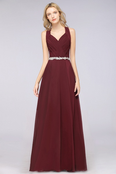 A-Line Chiffon Halter V-Neck Sleeveless Ruffle Floor-Length Bridesmaid Dress with Appliques Sashes_3