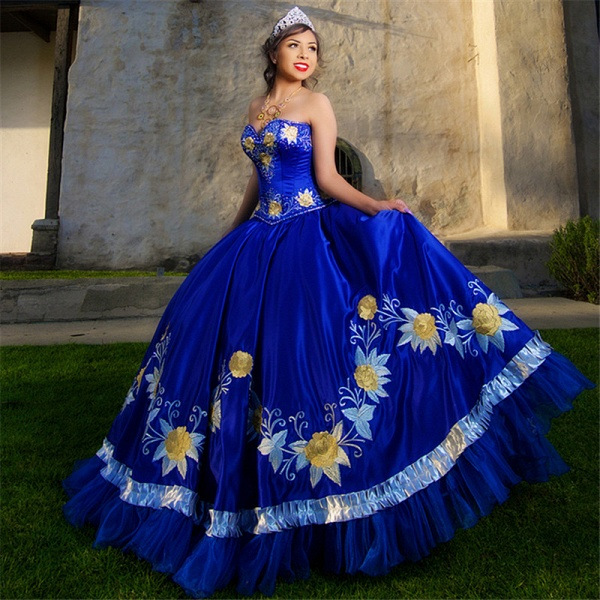 Fabulous Royal Blue Sweetheart Embroidery Ball Gown Quinceanera dresses_1