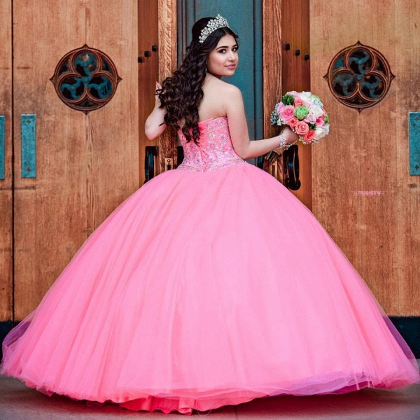 Latest Jewel Tulle Ball Gown Quinceanera Dress_2