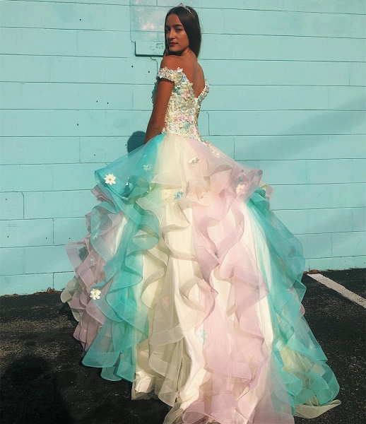 Attractive Off-the-shoulder Tulle Ball Gown Quinceanera Dress_2