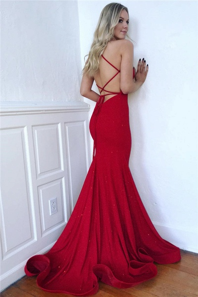 Glorious Spaghetti Straps Ruffles Mermaid Prom Dress_2
