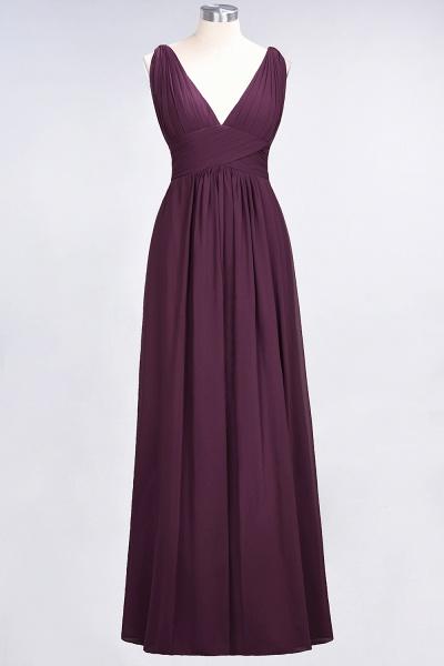 A-Line Chiffon V-Neck Sleeveless Floor-Length Bridesmaid Dress with Ruffle_19