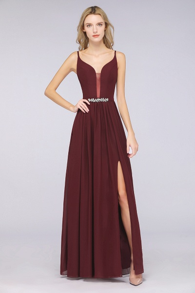 A-Line Chiffon Appliques Spaghetti-Straps Deep-V-Neck Sleeveless Floor-Length Bridesmaid Dress with Ruffles_3