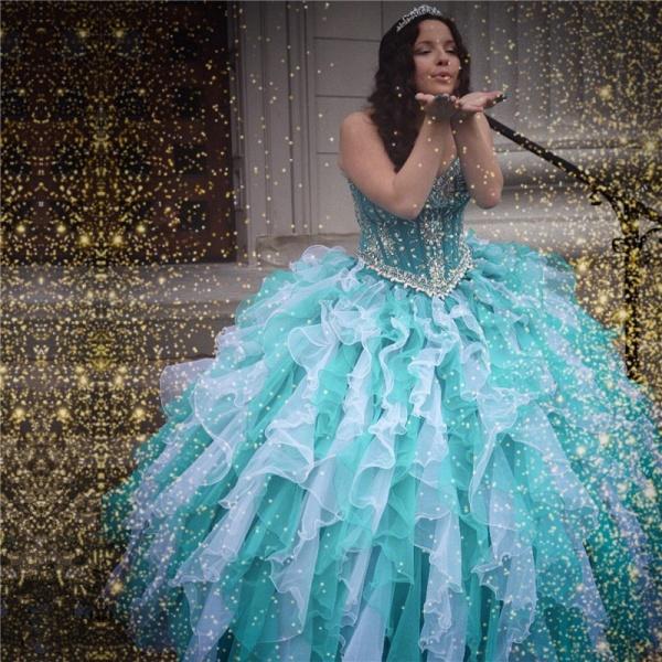 Graceful Sweetheart Organza Ball Gown Quinceanera Dress_1