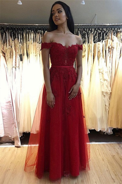 Eye-catching Off-the-shoulder Appliques A-line Prom Dress_1