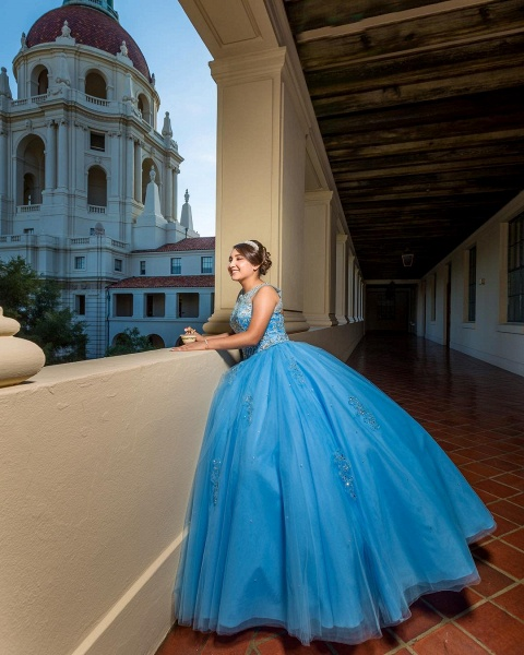 Precious Jewel Tulle Ball Gown Quinceanera Dress_2