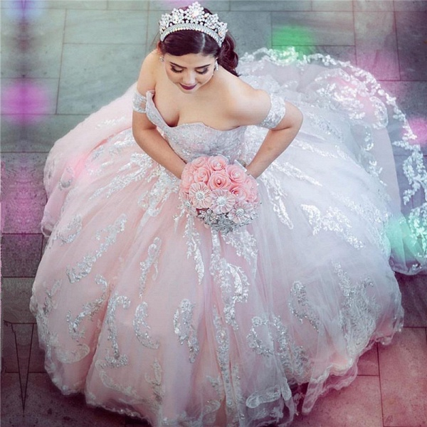 Attractive Off-the-shoulder Tulle Ball Gown Quinceanera Dress_1