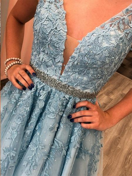 Chic Straps Beading Sash Homecoming Dress_6