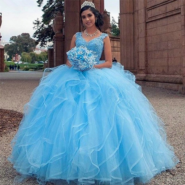 Gorgeous Blue V-neck Appliques Quinceanera Dress_1