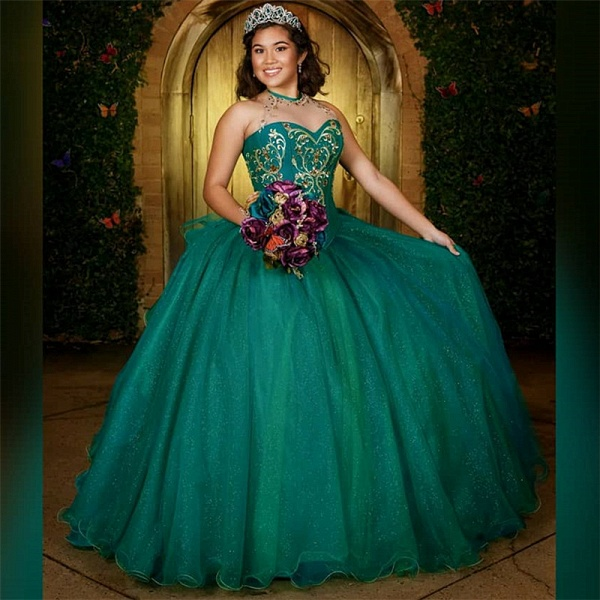 Graceful Jewel Tulle Ball Gown Quinceanera Dress_1
