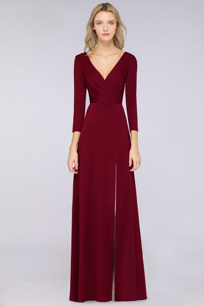 A-Line Spandex V-Neck Long-Sleeves Side-Slit Floor-Length Bridesmaid Dress with Ruffles_33