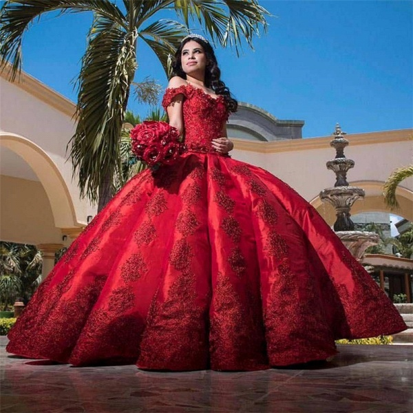 Fascinating Appliques Satin Ball Gown Quinceanera Dress_1