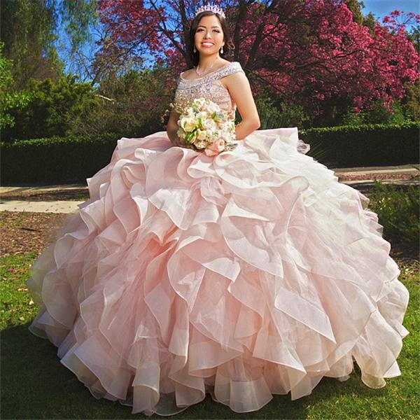 Latest Bateau Organza Ball Gown Quinceanera Dress_1