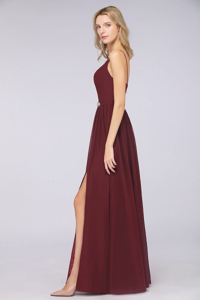 A-Line Chiffon Appliques Spaghetti-Straps Deep-V-Neck Sleeveless Floor-Length Bridesmaid Dress with Ruffles_6