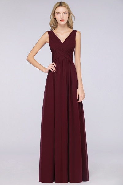 A-Line Chiffon Straps V-Neck Sleeveless Floor-Length Bridesmaid Dress with Ruffles_51