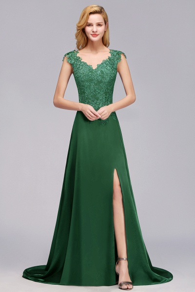 BM0796 A-line Lace Front-Slit Long Bridesmaid Dress