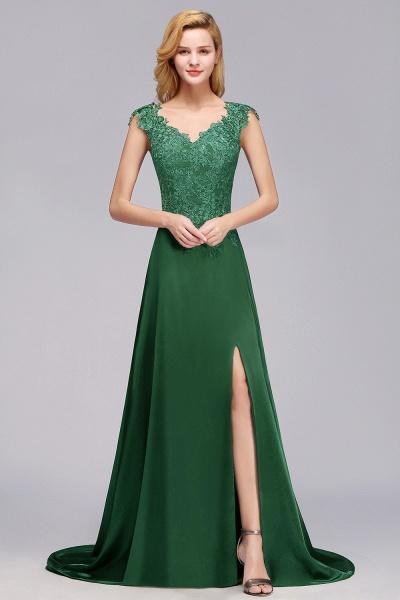 BM0796 A-line Lace Front-Slit Long Bridesmaid Dress_2