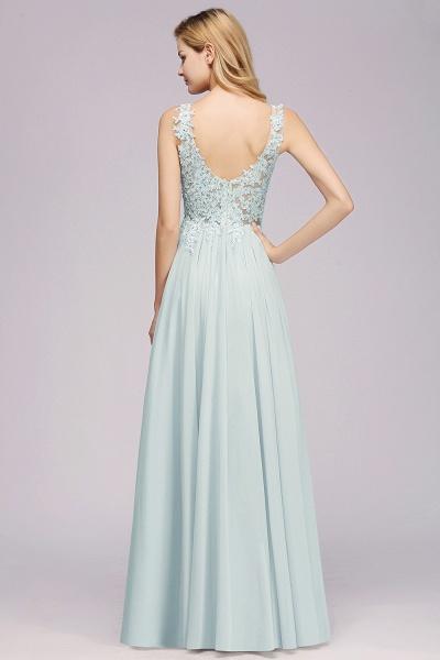BM0833 Sexy Chiffon Beaded Lace V-Neck Sleeveless Long Bridesmaid Dress_2