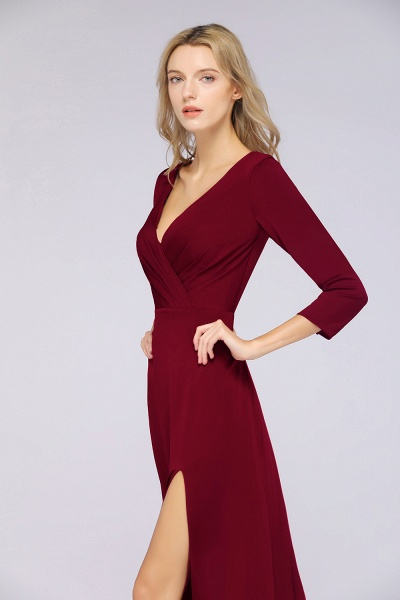 A-Line Spandex V-Neck Long-Sleeves Side-Slit Floor-Length Bridesmaid Dress with Ruffles_38