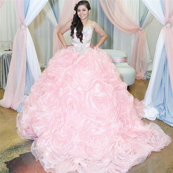 Best Sweetheart Organza Ball Gown Quinceanera Dress_1