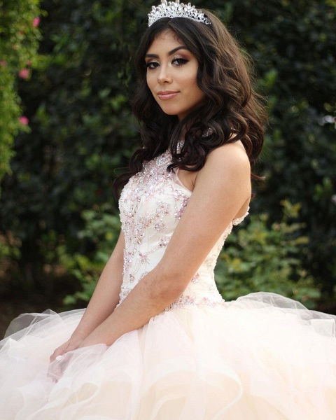 Sleek Jewel Tulle Ball Gown Quinceanera Dress_2
