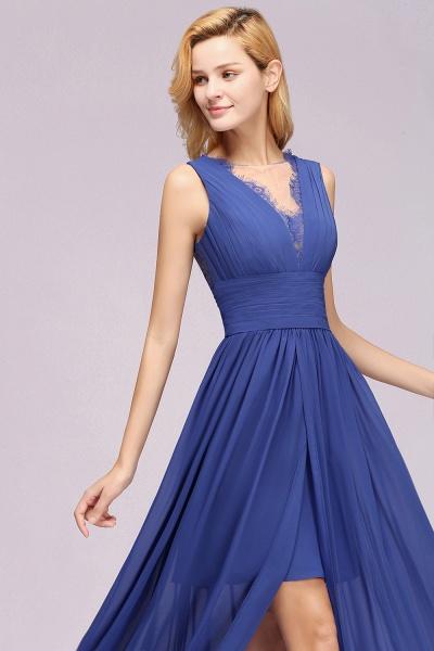 BM0835 Lace Chiffon Jewel Sleeveless Ruffles Short Bridesmaid Dress_56
