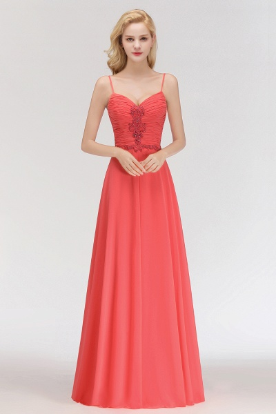 BM0084 Elegant Spaghetti Straps Ruffles Appliques Bridesmaid Dress_3
