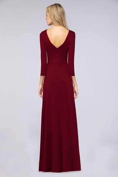 A-Line Spandex V-Neck Long-Sleeves Side-Slit Floor-Length Bridesmaid Dress with Ruffles_32