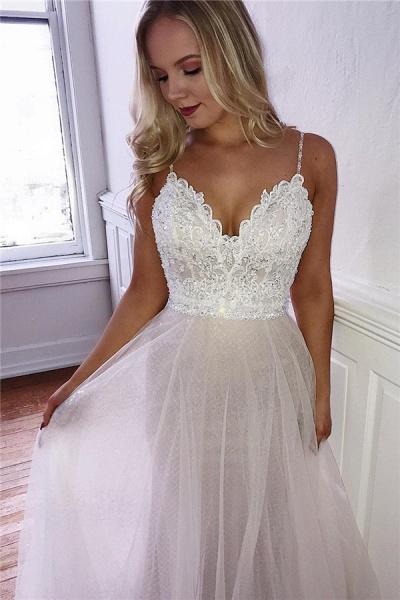Precious Spaghetti Straps Appliques A-line Prom Dress_1