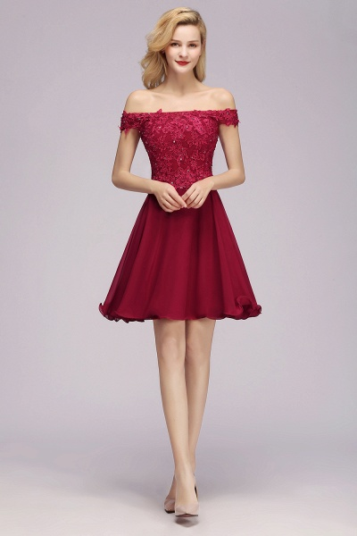BM0793 Elegant Lace Off-the-Shoulder Short Bridesmaid Dress