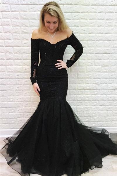 Wonderful Off-the-shoulder Appliques Mermaid Evening Dress_1
