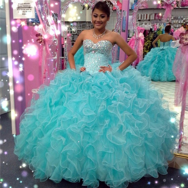 Latest Sweetheart Tulle Ball Gown Quinceanera Dress_1