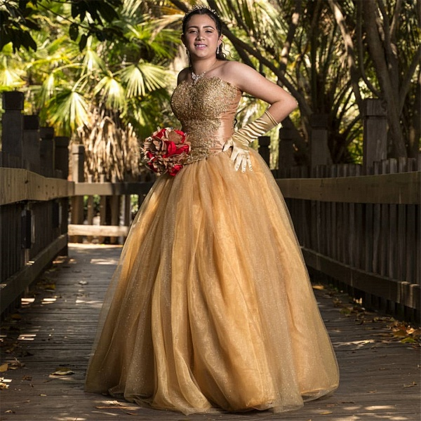Eye-catching Sweetheart Tulle Ball Gown Quinceanera Dress_1