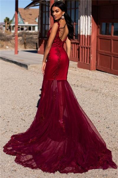 Sleek Straps Appliques Mermaid Prom Dress_2