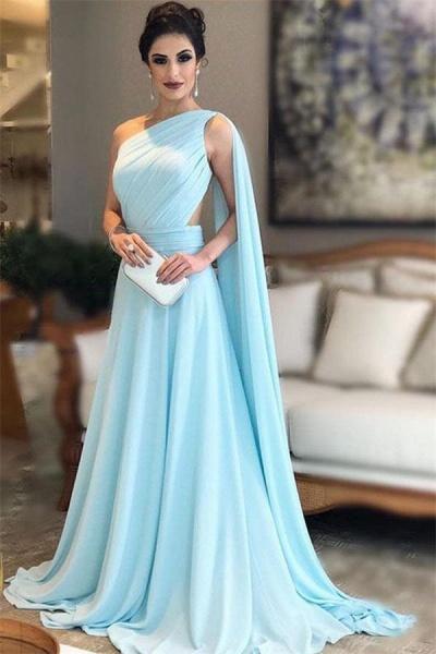 Modest One Shoulder A-line Evening Dress_1