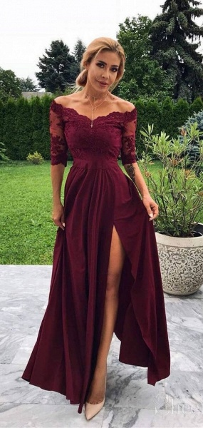 Marvelous Off-the-shoulder Appliques A-line Prom Dress_2