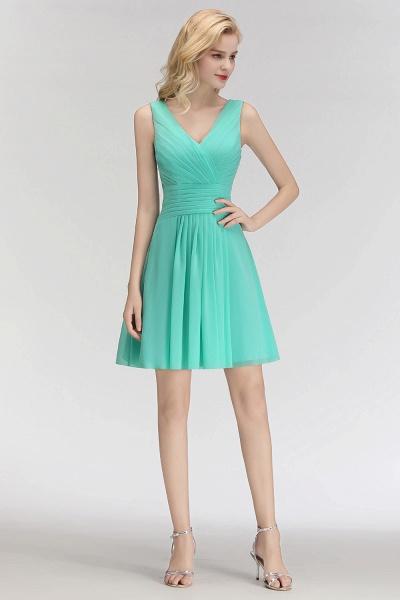 BM0061 A-line Ruffles Sexy V-Neck Sleeveless Short Bridesmaid Dress_4