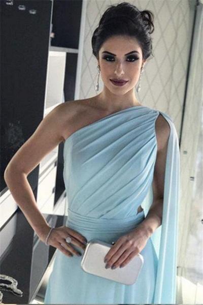 Modest One Shoulder A-line Evening Dress_4