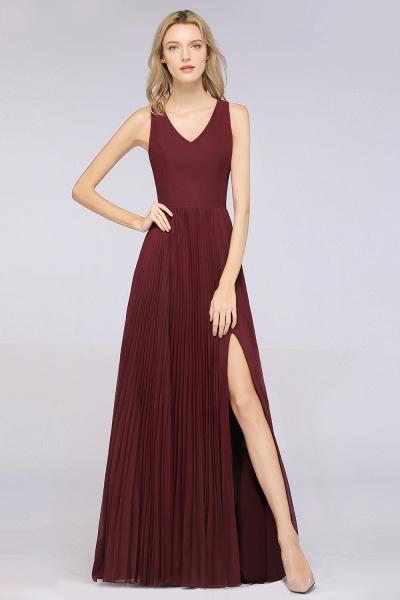 A-Line Satin Chiffon V-Neck Sleeveless Floor-Length Bridesmaid Dress with Ruffles_1