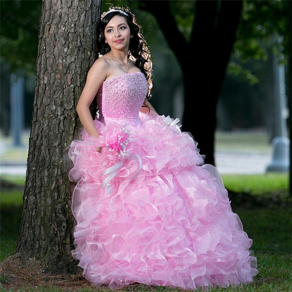 Beautiful Strapless Tulle Ball Gown Quinceanera Dress_1