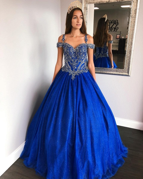Exquisite Spaghetti Straps Satin Ball Gown Quinceanera Dress_1