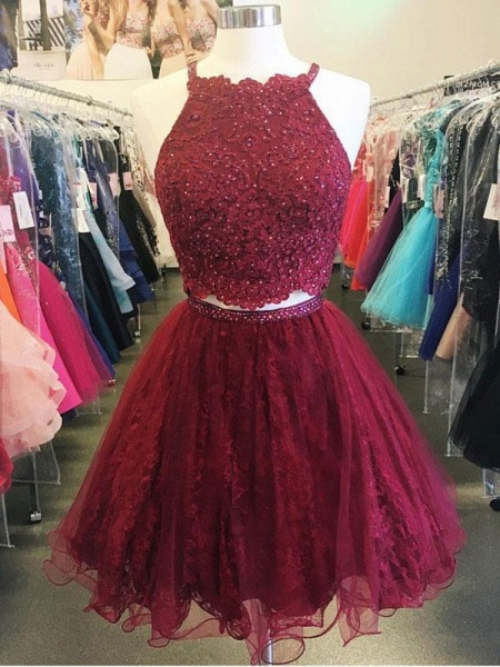 Stylish Two-Pieces Lave Beading Short Homecoming Dress_3