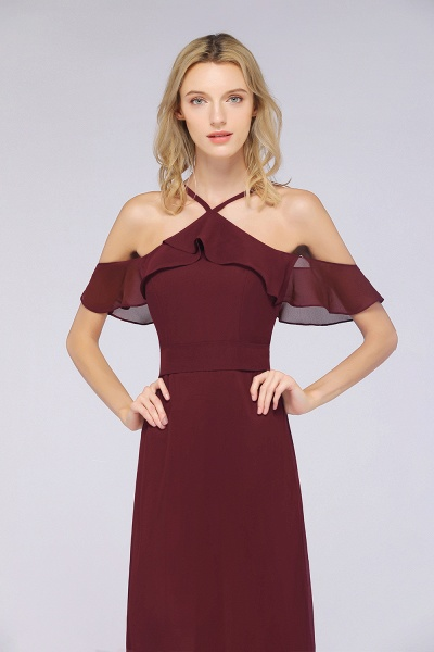 A-line Chiffon Spaghetti-Straps Sleeveless Ruffles Floor-Length Bridesmaid Dress with Bow Sash_5