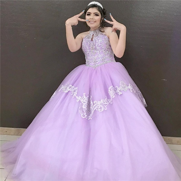 Beautiful High Neck Tulle Ball Gown Quinceanera Dress_1