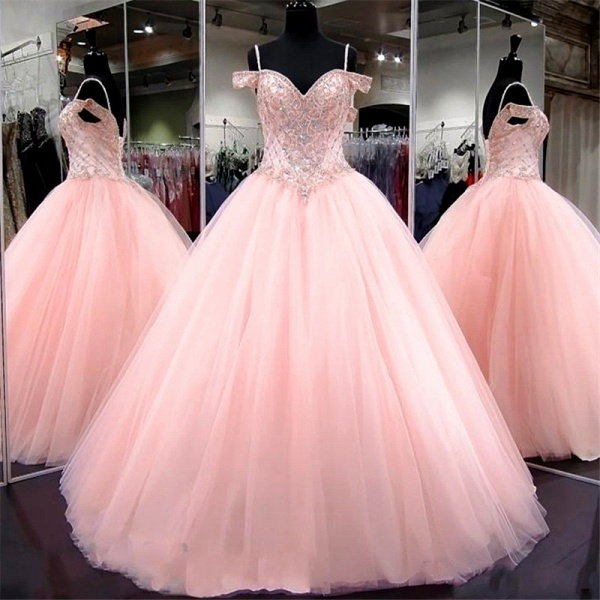 Wonderful Spaghetti Straps Tulle Ball Gown Quinceanera Dress_1