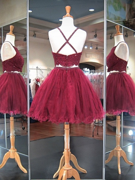 Stylish Two-Pieces Lave Beading Short Homecoming Dress_2